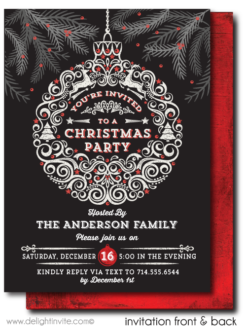Vintage Holiday Christmas Dinner Party Invitations