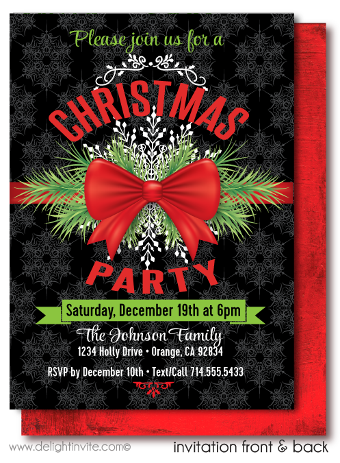 Traditional Vintage Holiday Christmas Party Invitations