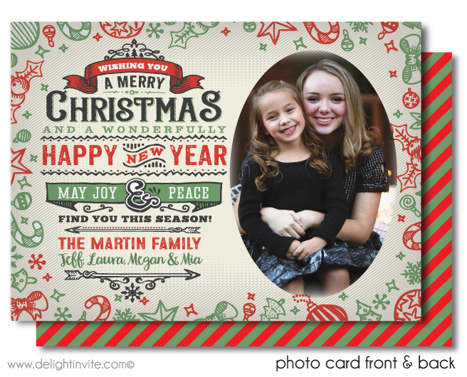 Rustic Vintage Merry Christmas Holiday Family Photo Cards Printed