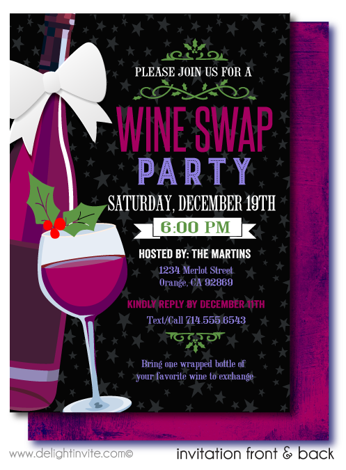Wine Swap Holiday Christmas Party Invitations