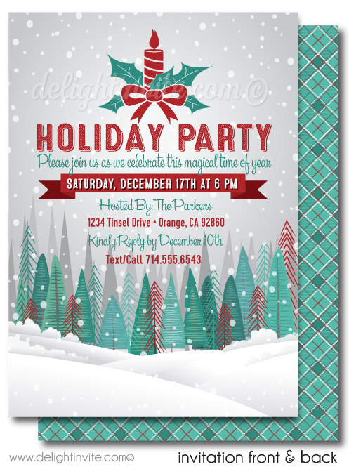 Vintage Woodland Forest Holiday Party Invitation