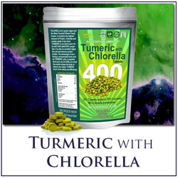 Sunlit Chlorella with Turmeric Tablets. Superfood supplement combines Organic raw non-GMO Chlorella Pyrensoidosa with Turmeric root (95% Concentrated Curcumin). No fillers No preservatives!