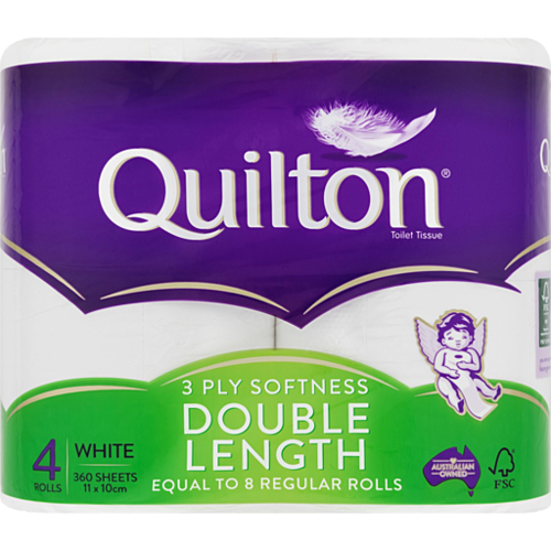 Quilton 3ply 4pk Double Length Toilet Tissue
