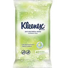 Kleenex Facial Tissue Wet Wipes Anti-Bacterial 40s