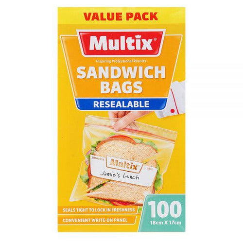 Multix Sandwich Bags Resealable 100pk