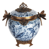 Floral Blue Porcelain Jar with Lid
