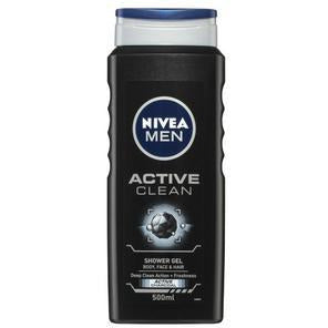 Nivea Men Active Clean Shower Gel & Body Wash + Active Charcoal 500ml