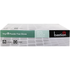 Bastion Vinyl Glove Clear Powder Free Clear 100pc - Large