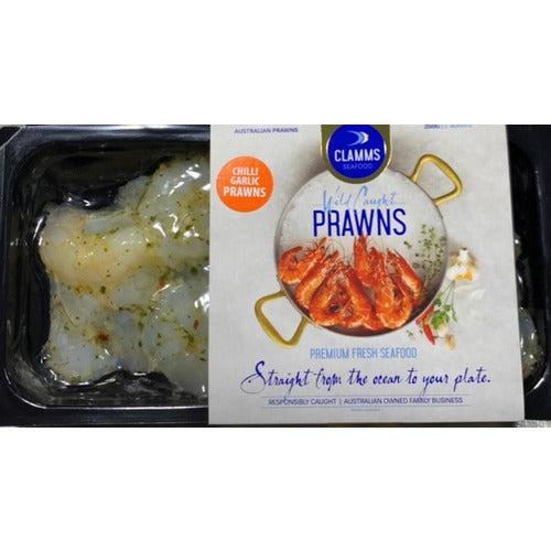 Clamms Chilli Garlic Prawns 250g (FROZEN)