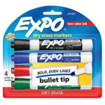 Expo Dry Erase Whiteboard Marker Bullet Tip Assorted 4 Pack