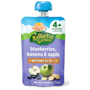 Rafferty's Garden Smooth 4 Mths+ 120gms - Blueberry, Banana, Apple