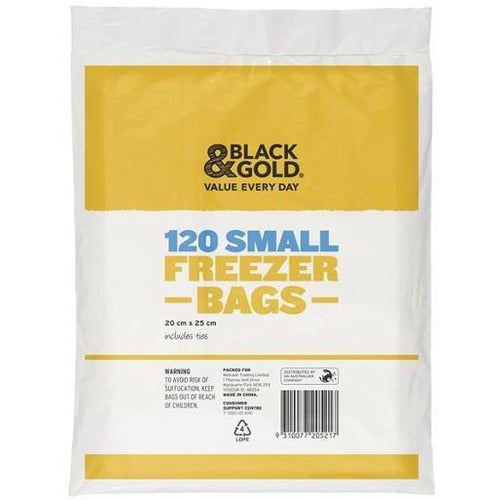 Black & Gold Freezer Bags - Small 120
