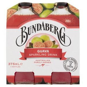 Bundaberg Guava Flavoured Sparkling Drink Multipack Bottles 4x375mL