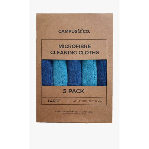 Campus & Co Microfibre Cleaning Cloth - 5 Pk Aqua