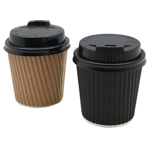 120ml Ripple Wall Coffee Cups with Lid - Pack 15