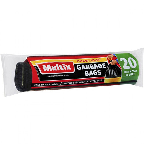Multix Drawtight 56L Garbage Bag 20pk