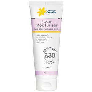 Cancer Council Face Moisturiser Clear SPF30+ 75ml