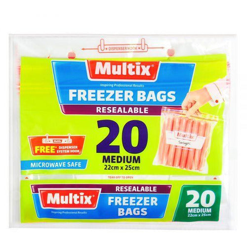 Multix Tear Off Freezer Bags - Resealable Medium 20