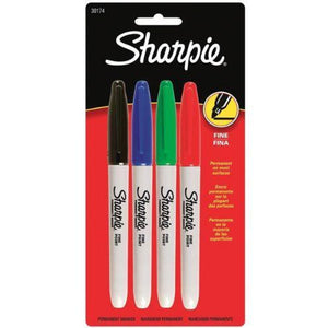 Sharpie Fine Point Permanent Marker Business Assorted 4 Pack