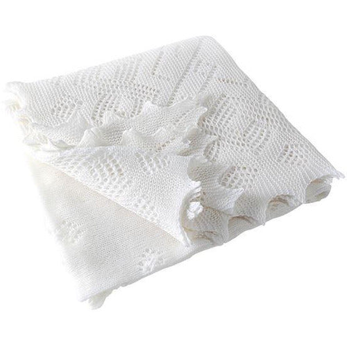 Wool Lace Christening Shawl