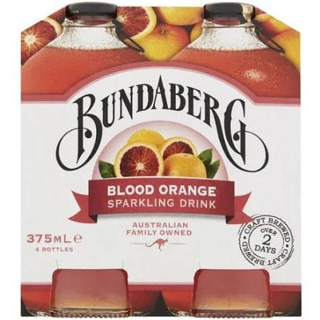 Bundaberg Blood Orange Flavoured Sparkling Drink Multipack Bottles 4x375mL