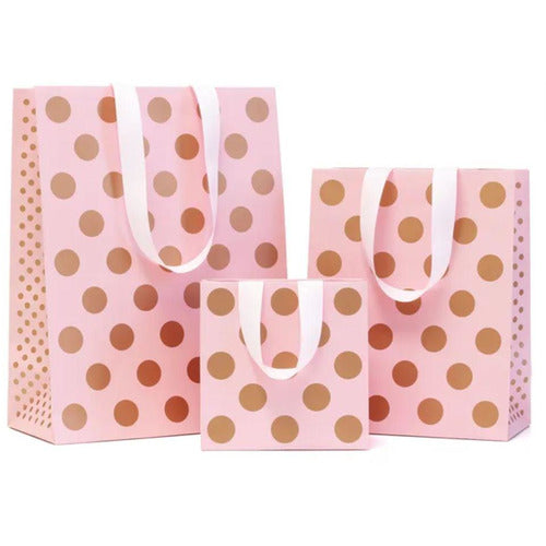 Gift Bag with Handles - Pink/Copper Spots