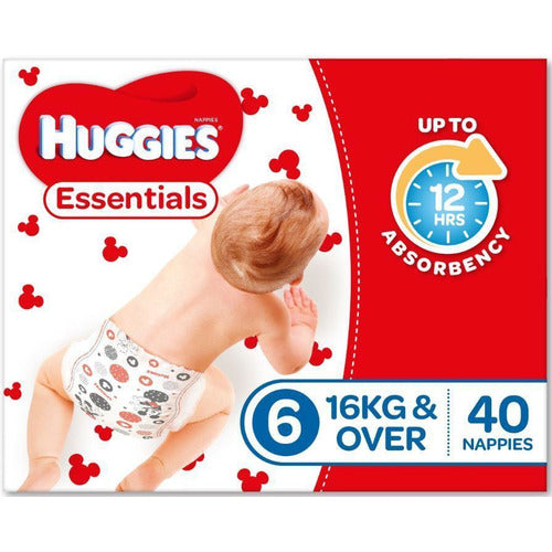 Huggies Essential Nappy Size 6 Junior 16Kg+ 40/pack