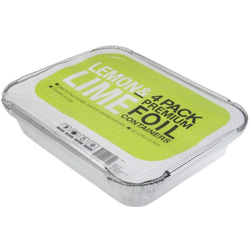 32 x 26 Foil Trays with Lids - 4 Pack
