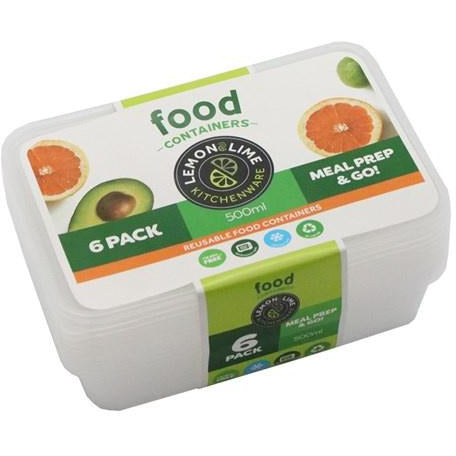 Disposable Food Containers - 500 ml rec 6pk