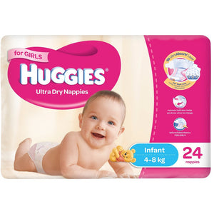 Huggies Ultra Dry Infant Nappies 4-8kg 24 Pack Girls