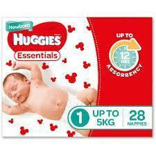 Huggies Essential Nappy Size 1 Newborn Up To 5Kg 28/pack
