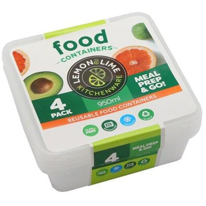 Disposable Food Containers 950ml square 4pk