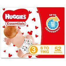 Huggies Essential Nappy Size 3 Crawler 6-11kg 52pk