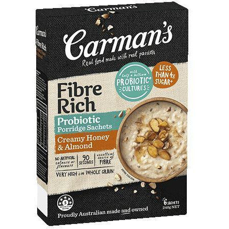 Carmans Fibre Rich Honey & Almond Instant Oat Sachets 40g 8pk