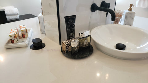 Pop up outlet in bathroom countertop