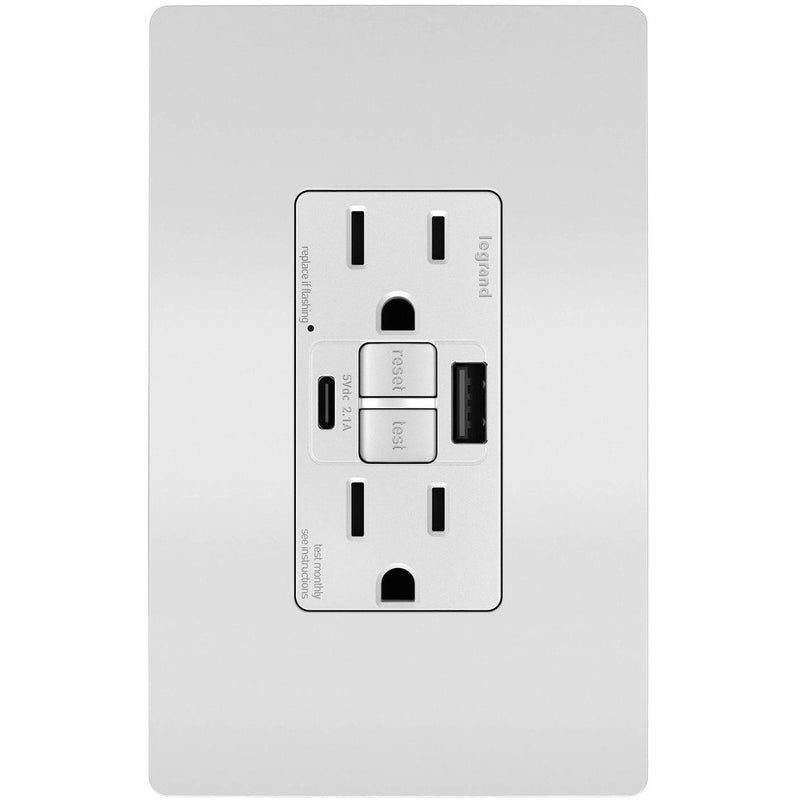 GFCI with USB-AC Charging Combo Outlet, Tamper Resistant, 15A, White, Includes Wall Plate