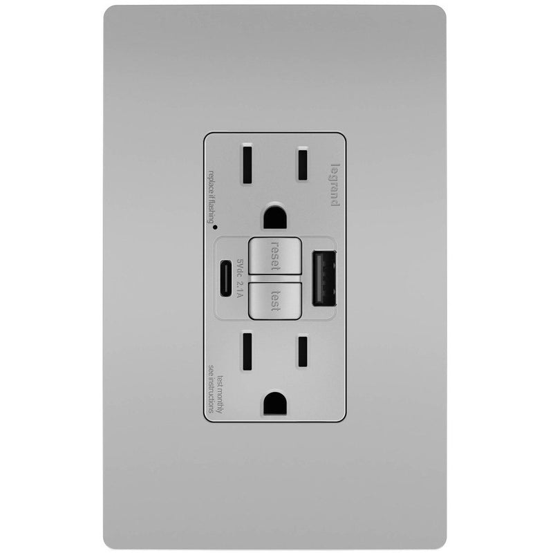 GFCI with USB-AC Charging Combo Outlet, Tamper Resistant, 15A, Gray, Includes Wall Plate