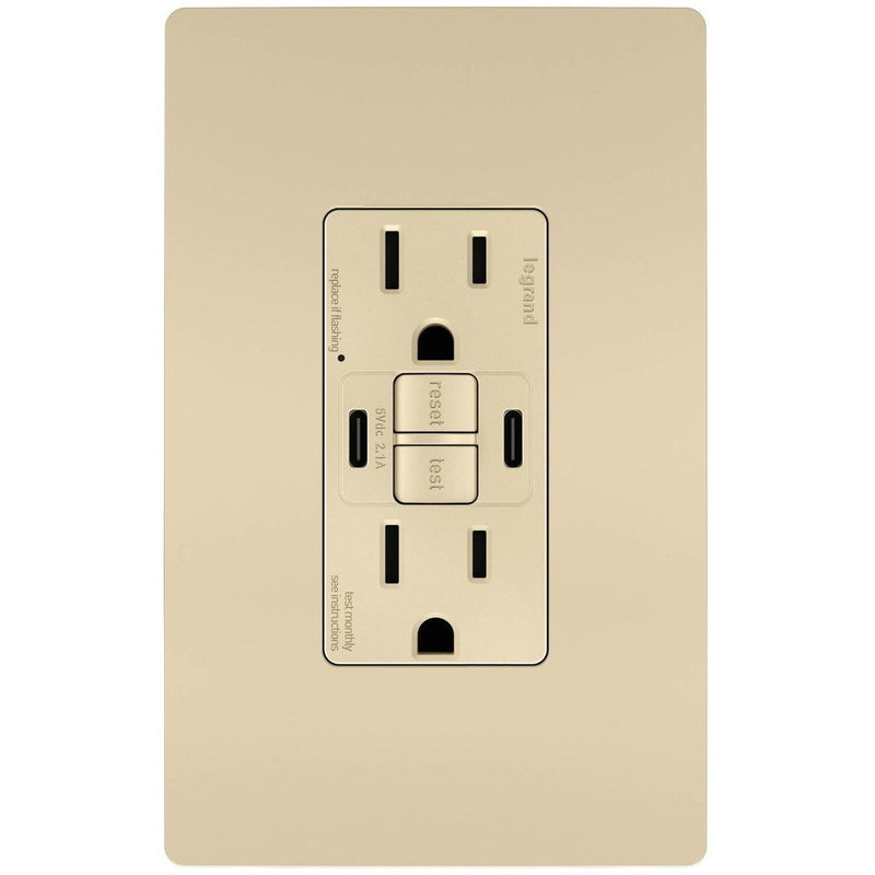 GFCI with USB-CC Charging Combo Outlet, Tamper Resistant, 15A, Ivory, Includes Wall Plate