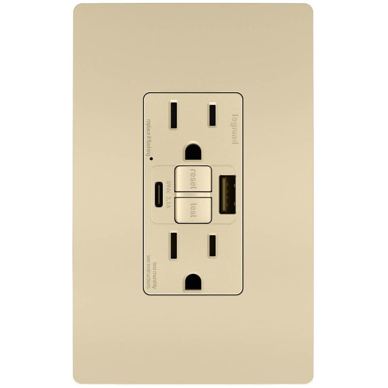 GFCI with USB-AC Charging Combo Outlet, Tamper Resistant, 15A, Ivory, Includes Wall Plate