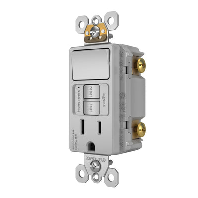 Legrand 1597SWTTRGRY 15A Rocker Switch and GFCI Self-Test Receptacle, Gray