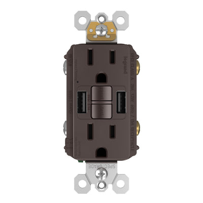 Combo GFCI and USB-AA Charging Outlet, Tamper Resistant, 15A, Brown, Front
