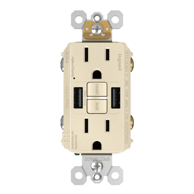 Copy of Combo GFCI with USB-AA Charging Outlet, Tamper Resistant, 15A, Light Almond
