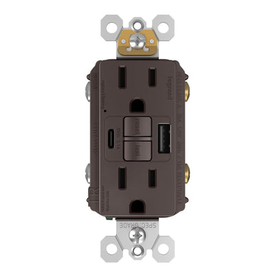 1597TRUSBAC GFCI with USB-AC Charging Combo Outlet, Tamper Resistant, 15A, Brown, Front