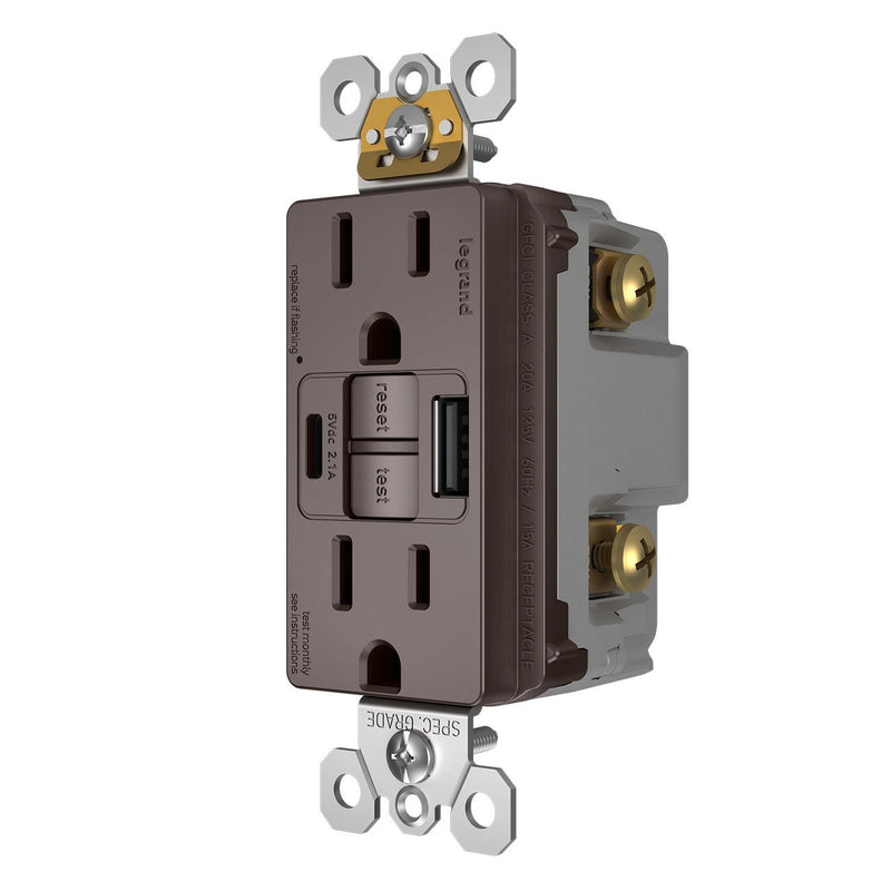 1597TRUSBAC GFCI with USB-AC Charging Combo Outlet, Tamper Resistant, 15A, Brown, Right Side