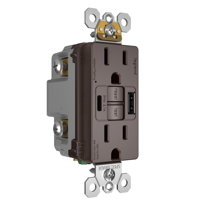 1597TRUSBAC GFCI with USB-AC Charging Combo Outlet, Tamper Resistant, 15A, Brown, Left Side