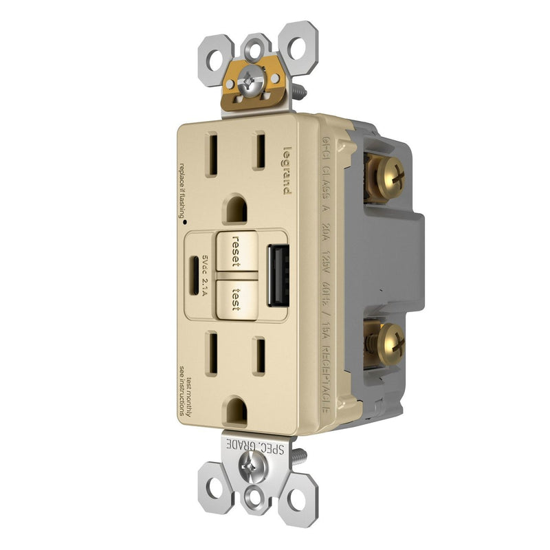 1597TEUSBACI GFCI with USB-AC Charging Combo Outlet, Tamper Resistant, 15A, Ivory, Right Side