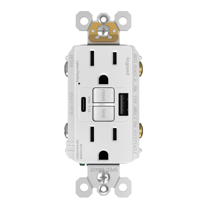 GFCI with USB-AC Charging Combo Outlet, Tamper Resistant, 15A, White