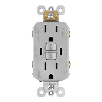 1597TRUSBCCGRY GFCI and USB Combo Outlet Front Gray