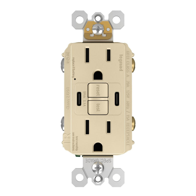 1597TRUSBCCI GFCI and USB Combo Outlet Front Ivory