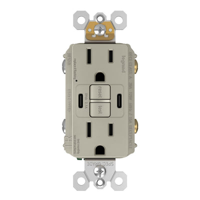 1597TRUSBCCNI GFCI and USB Combo Outlet Front Nickel